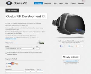 OculusVR公式サイトのスクリーンショット